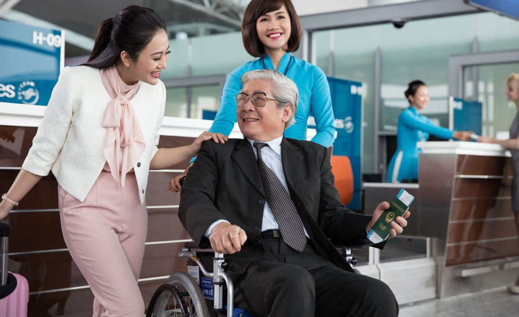 Vietnam Airline passenger in wheel chair