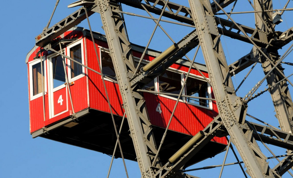 One of the older wooden cabins. The Riesenrad giant Ferris wheel in Vienna has replaced its iconic gondolas with more modern plastic ones. Picture by: © Geoff Moore/www.thetraveltrunk.net