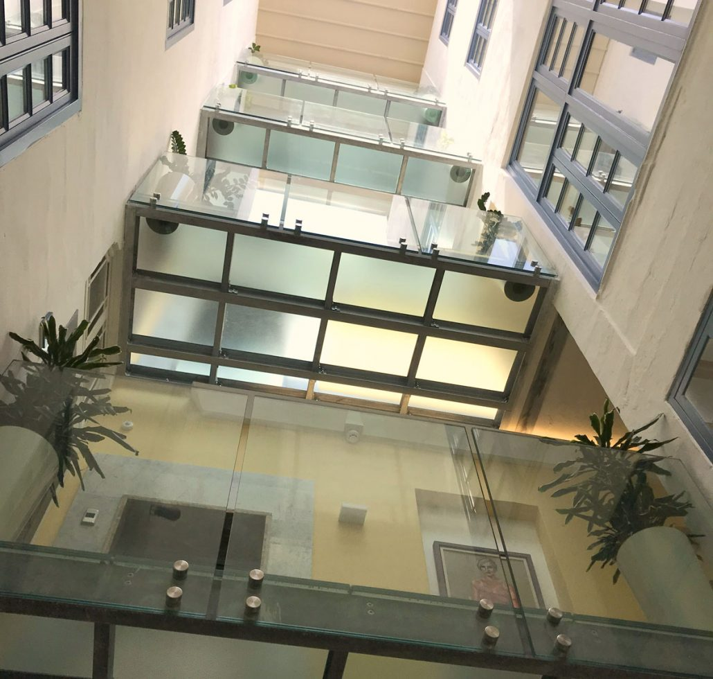 Glass and metal floors